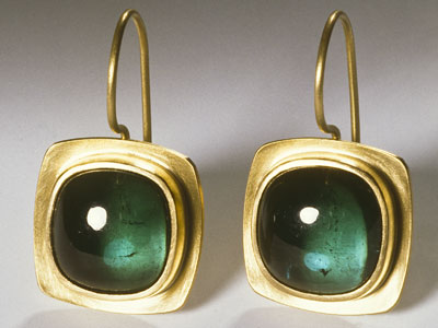 Earrings; Green Tourmalines and 18ct Gold. For other large images click on the thumbnails below.